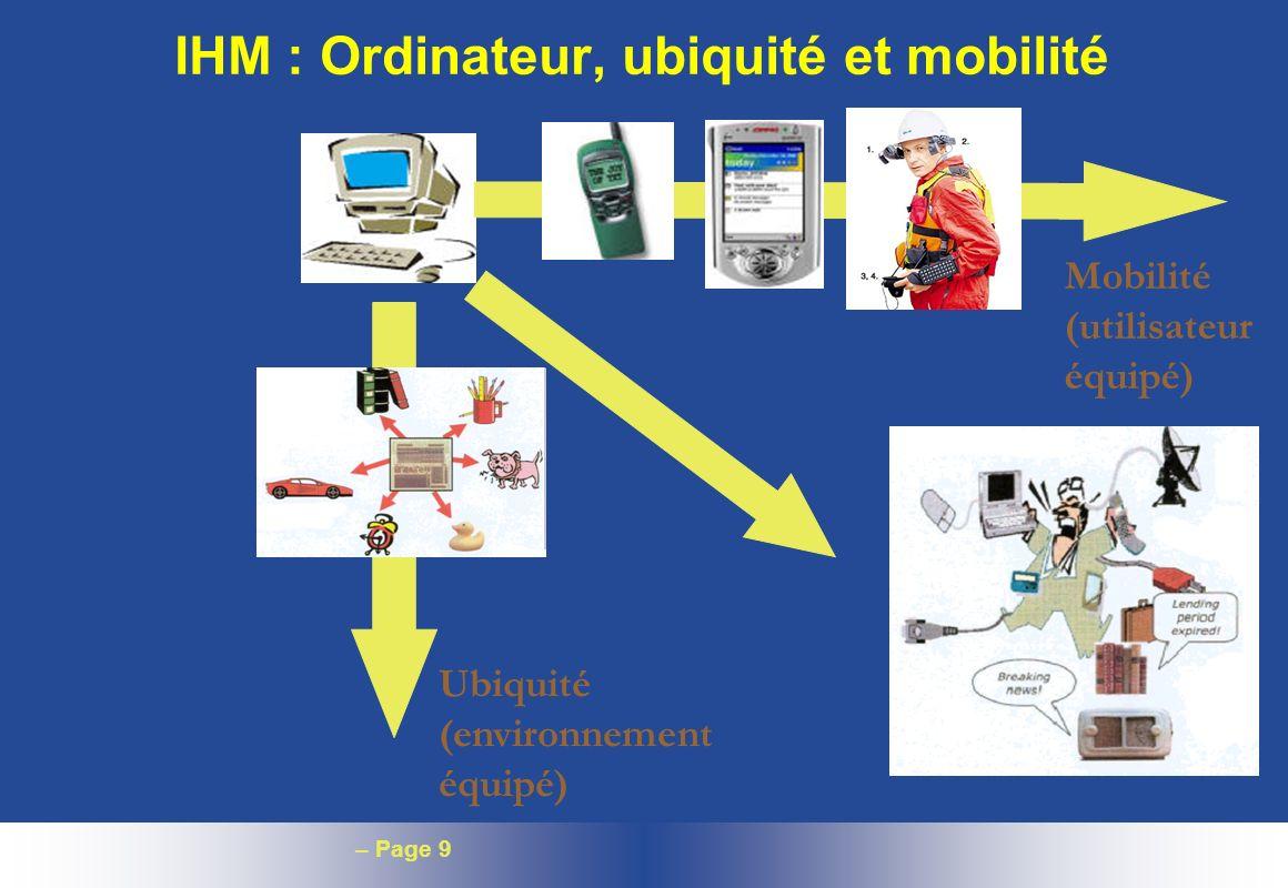 – Page 9 IHM : Ordinateur, ubiquité et mobilité Ubiquité (environnement équipé) Mobilité (utilisateur équipé)