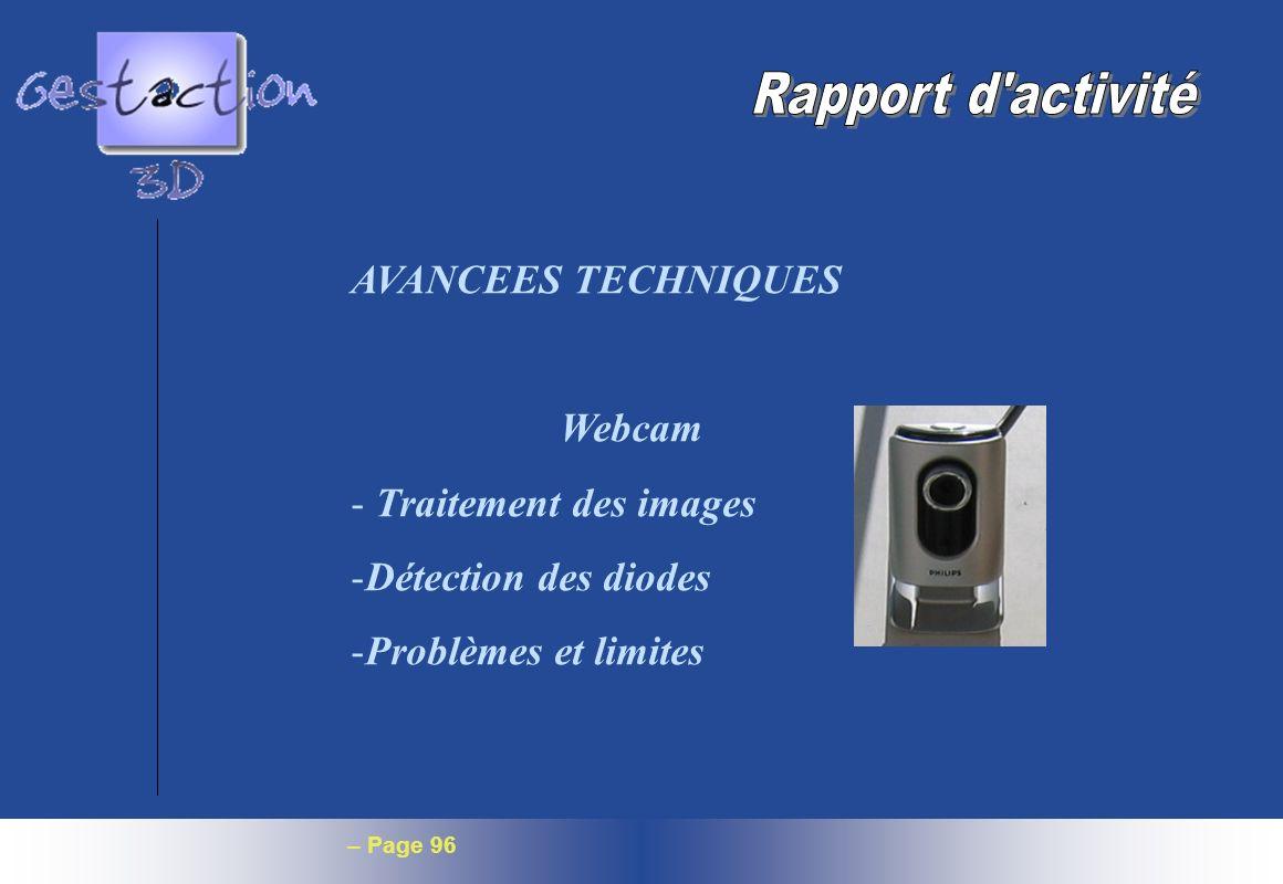 – Page 96 AVANCEES TECHNIQUES Webcam - Traitement des images -Détection des diodes -Problèmes et limites