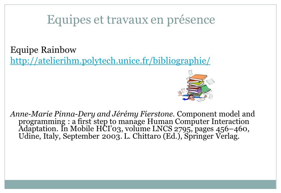 Equipes et travaux en présence Equipe Rainbow http://atelierihm.polytech.unice.fr/bibliographie/ Anne-Marie Pinna-Dery and Jérémy Fierstone. Component
