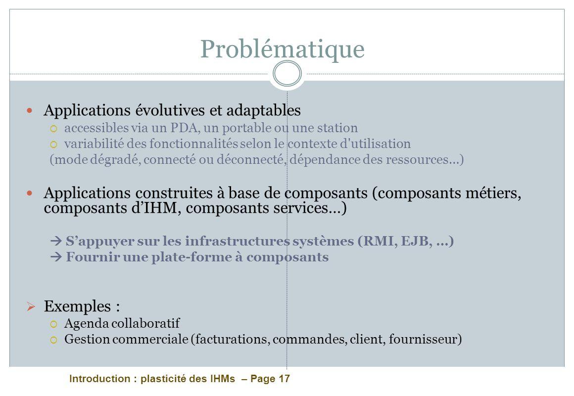Introduction : plasticité des IHMs – Page 17 Problématique Applications évolutives et adaptables accessibles via un PDA, un portable ou une station va
