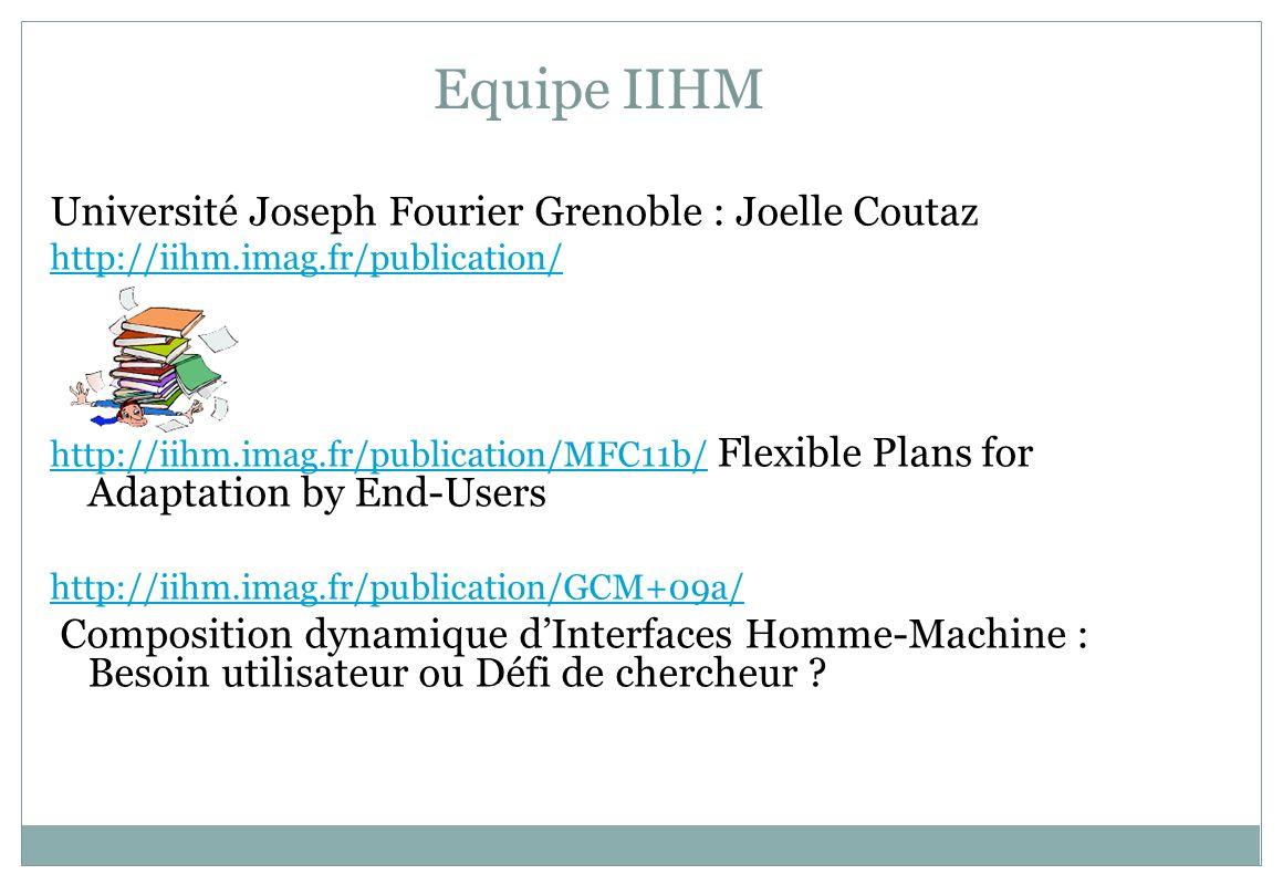 Equipe IIHM Université Joseph Fourier Grenoble : Joelle Coutaz http://iihm.imag.fr/publication/ http://iihm.imag.fr/publication/MFC11b/http://iihm.ima