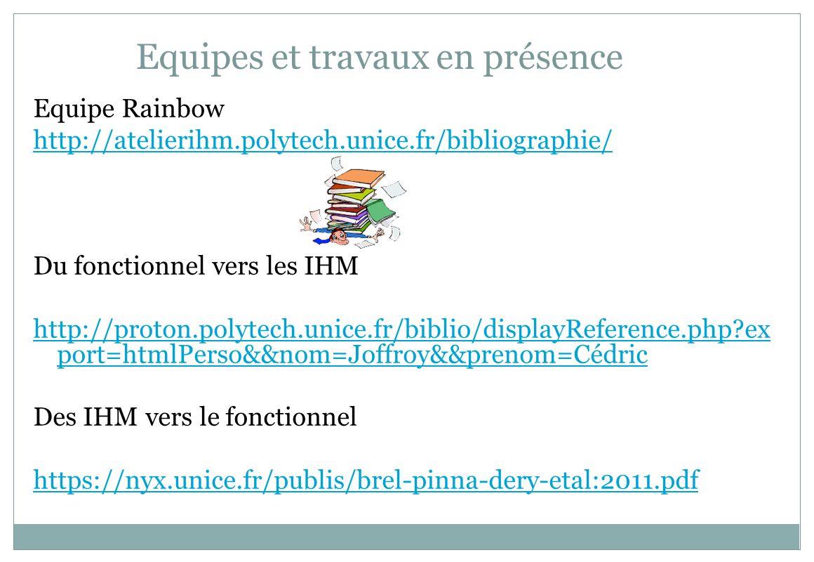Equipes et travaux en présence Equipe Rainbow http://atelierihm.polytech.unice.fr/bibliographie/ Du fonctionnel vers les IHM http://proton.polytech.un