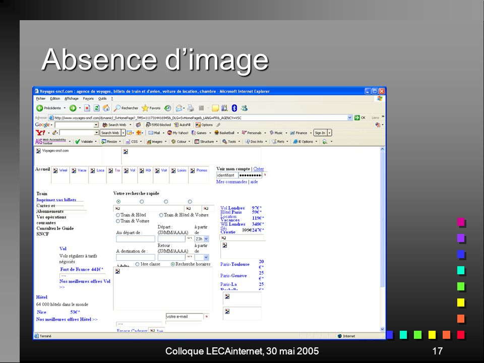Colloque LECAinternet, 30 mai 200517 Absence dimage