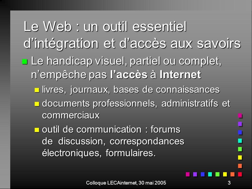 Colloque LECAinternet, 30 mai 200514 Interface classique