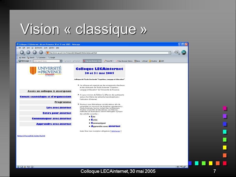 Colloque LECAinternet, 30 mai 20058 Le texte est grossi