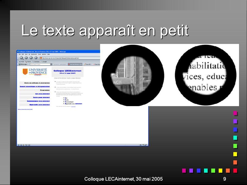 Colloque LECAinternet, 30 mai 200520 Votre site est-il accessible … aux déficients visuels .