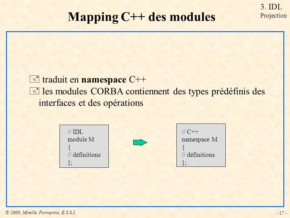 © 2000, Mireille Fornarino, E.S.S.I. - 17 - Mapping C++ des modules + traduit en namespace C++ + les modules CORBA contiennent des types prédéfinis de