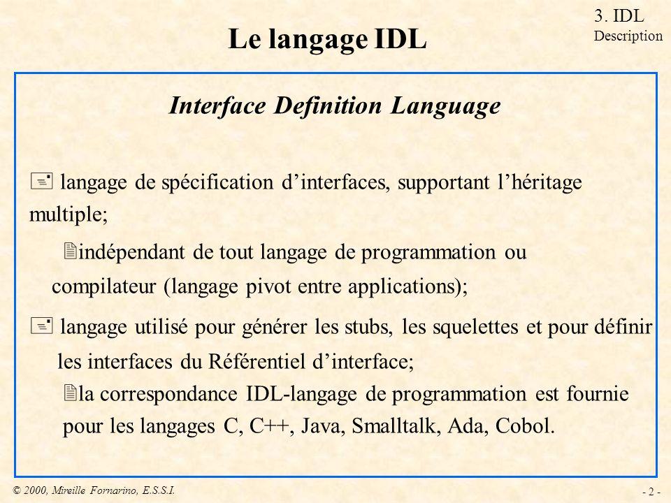 © 2000, Mireille Fornarino, E.S.S.I. - 2 - Le langage IDL Interface Definition Language + langage de spécification dinterfaces, supportant lhéritage m