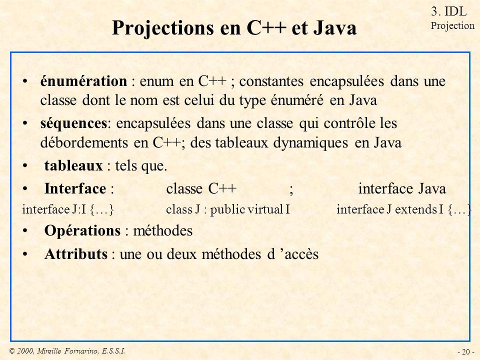 © 2000, Mireille Fornarino, E.S.S.I. - 20 - Projections en C++ et Java 3. IDL Projection énumération : enum en C++ ; constantes encapsulées dans une c