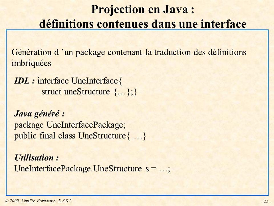 © 2000, Mireille Fornarino, E.S.S.I. - 22 - Projection en Java : définitions contenues dans une interface Génération d un package contenant la traduct