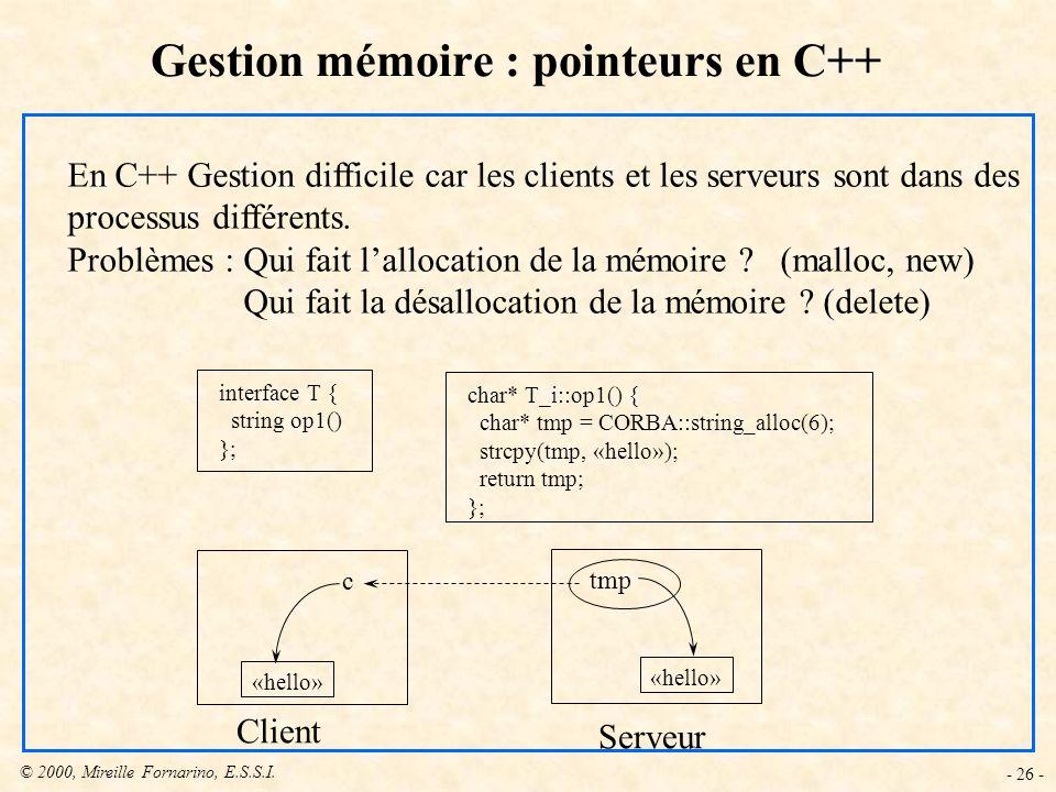 © 2000, Mireille Fornarino, E.S.S.I. - 26 - Gestion mémoire : pointeurs en C++ En C++ Gestion difficile car les clients et les serveurs sont dans des