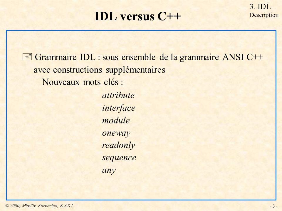 © 2000, Mireille Fornarino, E.S.S.I. - 3 - IDL versus C++ + Grammaire IDL : sous ensemble de la grammaire ANSI C++ avec constructions supplémentaires