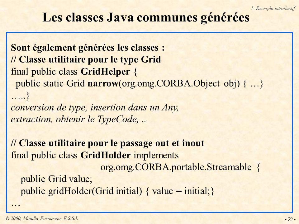 © 2000, Mireille Fornarino, E.S.S.I. - 39 - Sont également générées les classes : // Classe utilitaire pour le type Grid final public class GridHelper