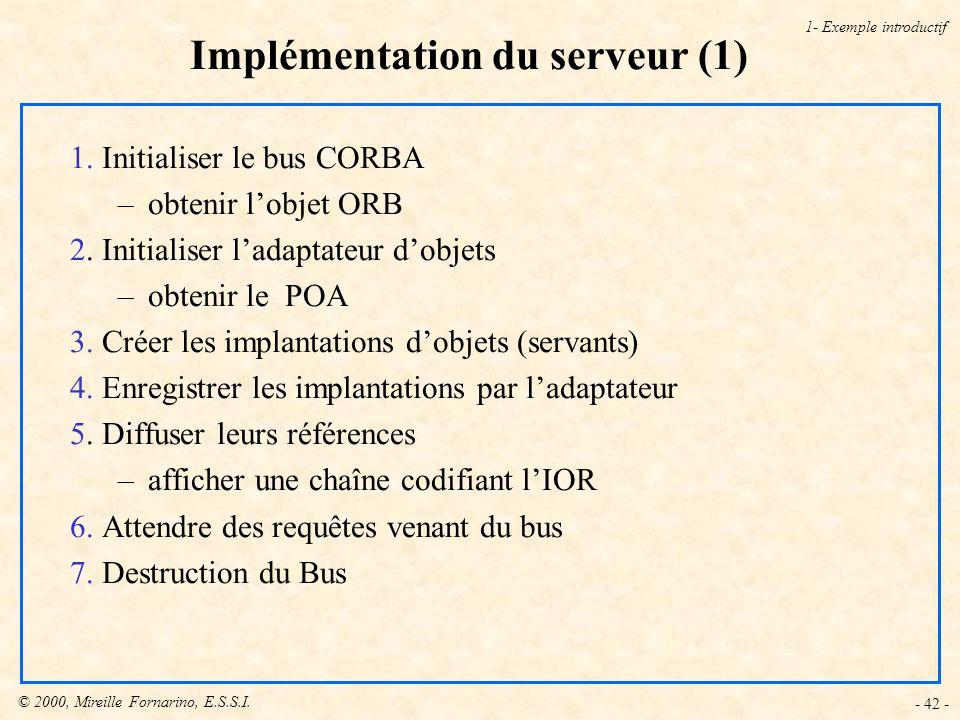© 2000, Mireille Fornarino, E.S.S.I.- 42 - Implémentation du serveur (1) 1- Exemple introductif 1.