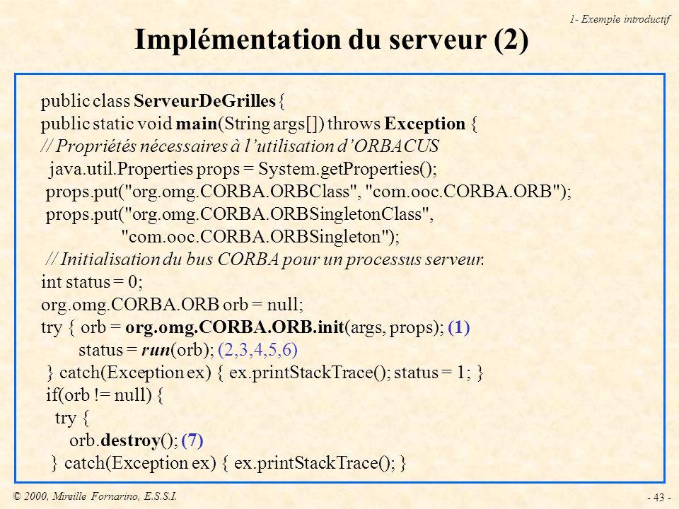 © 2000, Mireille Fornarino, E.S.S.I. - 43 - Implémentation du serveur (2) 1- Exemple introductif public class ServeurDeGrilles{ public static void mai