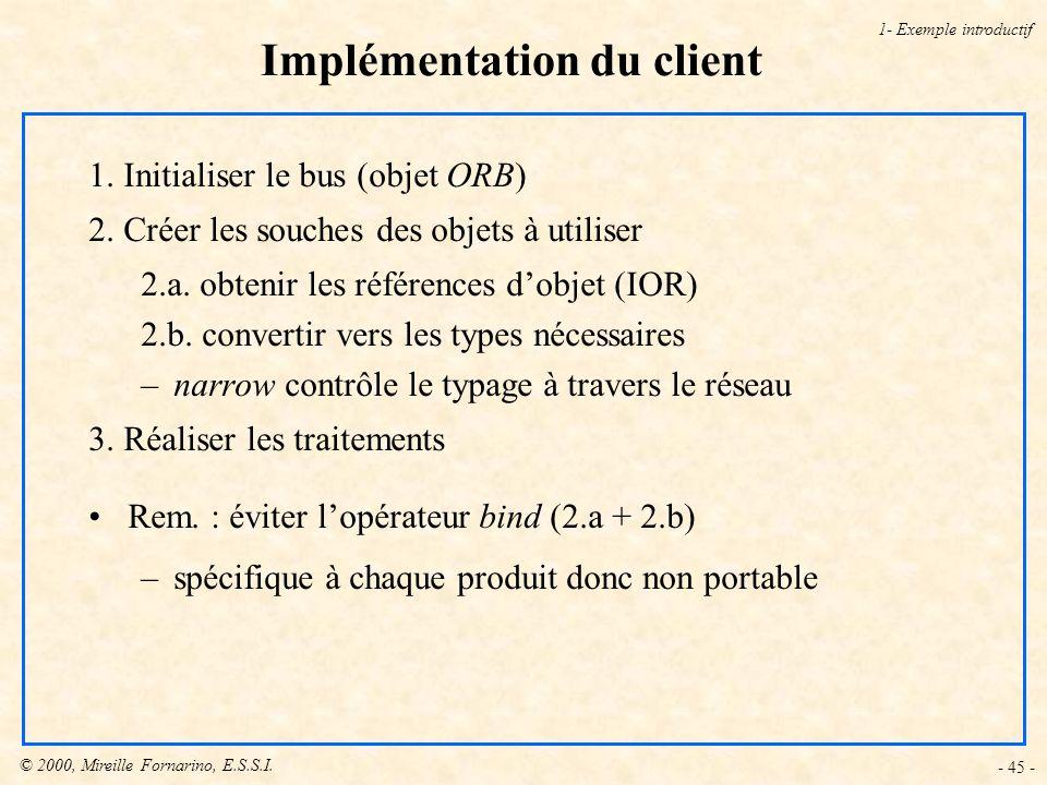 © 2000, Mireille Fornarino, E.S.S.I. - 45 - Implémentation du client 1- Exemple introductif 1. Initialiser le bus (objet ORB) 2. Créer les souches des