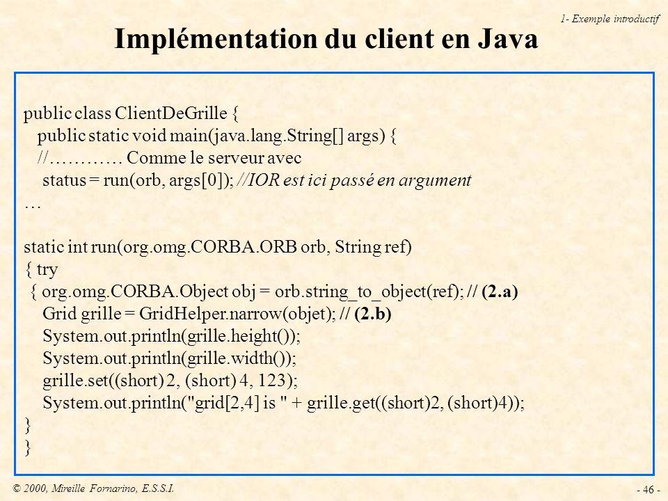 © 2000, Mireille Fornarino, E.S.S.I. - 46 - Implémentation du client en Java 1- Exemple introductif public class ClientDeGrille { public static void m