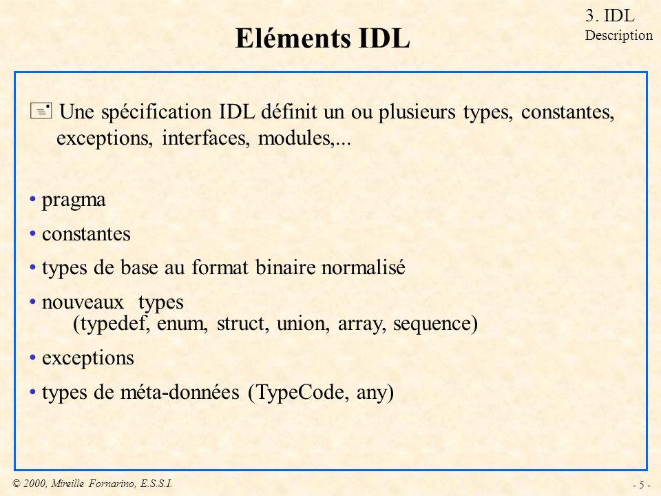 © 2000, Mireille Fornarino, E.S.S.I. - 5 - Eléments IDL + Une spécification IDL définit un ou plusieurs types, constantes, exceptions, interfaces, mod