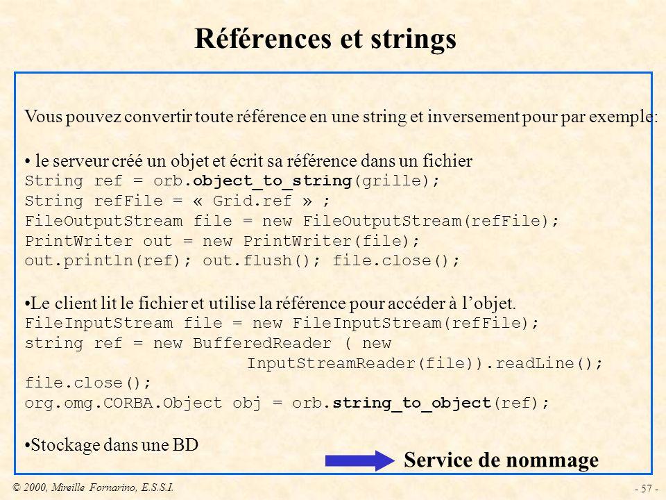 © 2000, Mireille Fornarino, E.S.S.I. - 57 - Références et strings Vous pouvez convertir toute référence en une string et inversement pour par exemple: