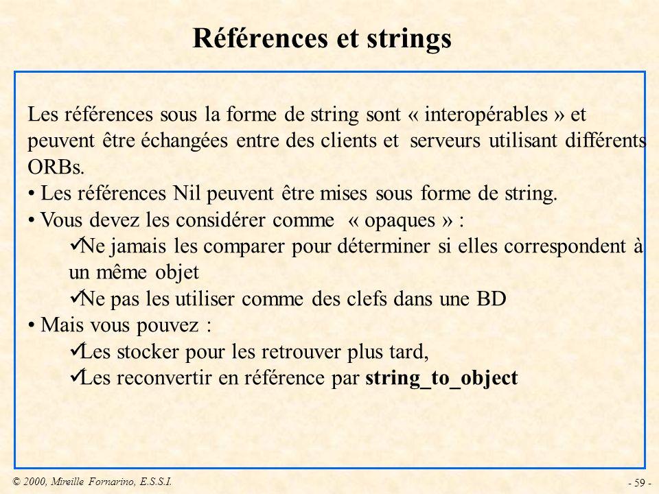 © 2000, Mireille Fornarino, E.S.S.I. - 59 - Références et strings Les références sous la forme de string sont « interopérables » et peuvent être échan