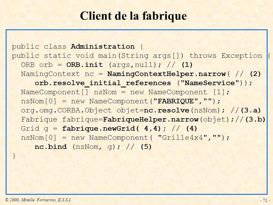 © 2000, Mireille Fornarino, E.S.S.I. - 71 - Client de la fabrique public class Administration { public static void main(String args[]) throws Exceptio