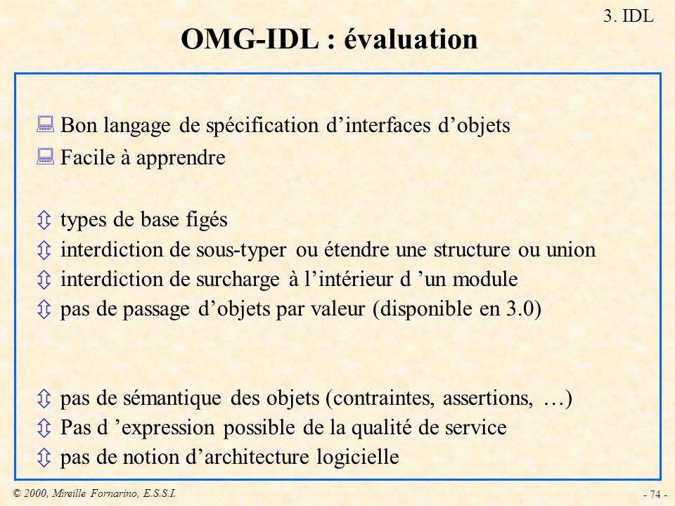© 2000, Mireille Fornarino, E.S.S.I. - 74 - :Bon langage de spécification dinterfaces dobjets :Facile à apprendre ôtypes de base figés ôinterdiction d