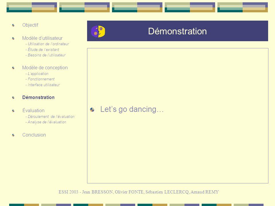 Démonstration Lets go dancing… ESSI 2003 - Jean BRESSON, Olivier FONTE, Sébastien LECLERCQ, Arnaud REMY Objectif Modèle dutilisateur - Utilisation de lordinateur - Étude de lexistant - Besoins de lutilisateur Modèle de conception - Lapplication - Fonctionnement - Interface utilisateur Démonstration Évaluation - Déroulement de lévaluation - Analyse de lévaluation Conclusion