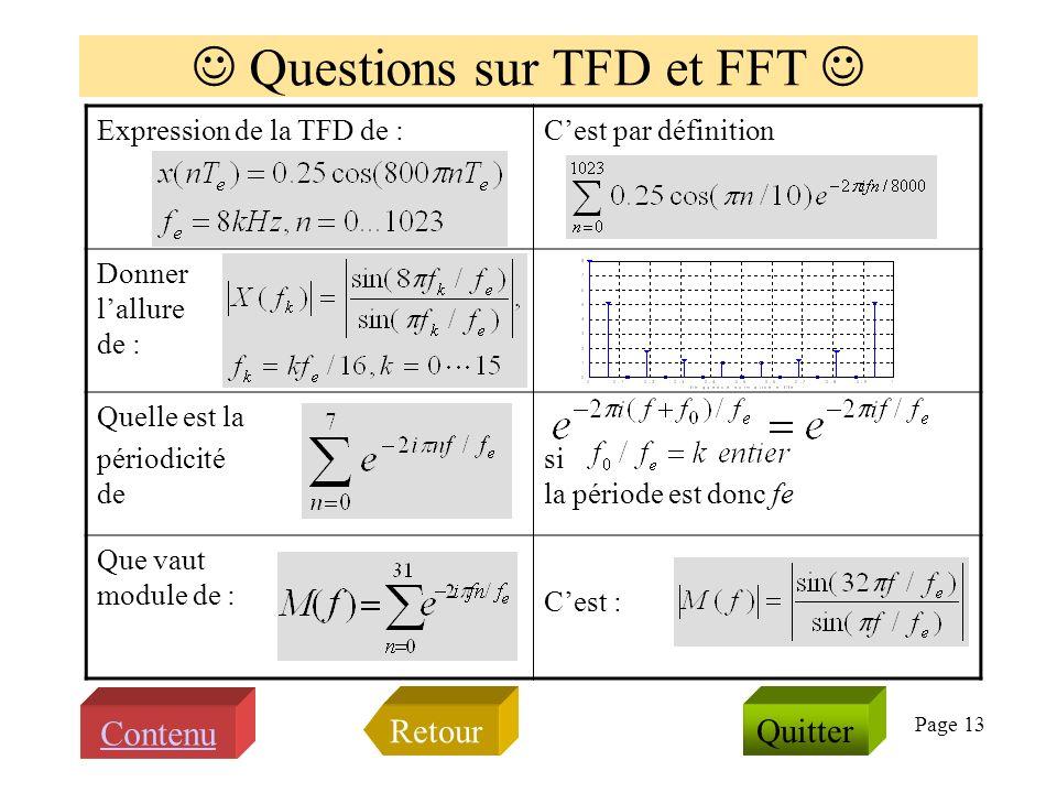 Page 12 Transformée de Fourier et spectre Quappelle ton spectre damplitude dun signal ? C est le module de la transfor- mée de Fourier du signal Quel