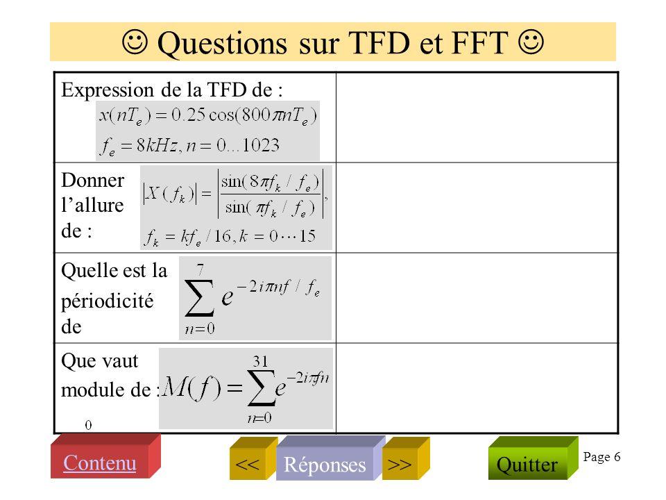 Page 6 Questions sur TFD et FFT Expression de la TFD de : Donner lallure de : Quelle est la périodicité de Que vaut module de : << Réponses Quitter >> Contenu