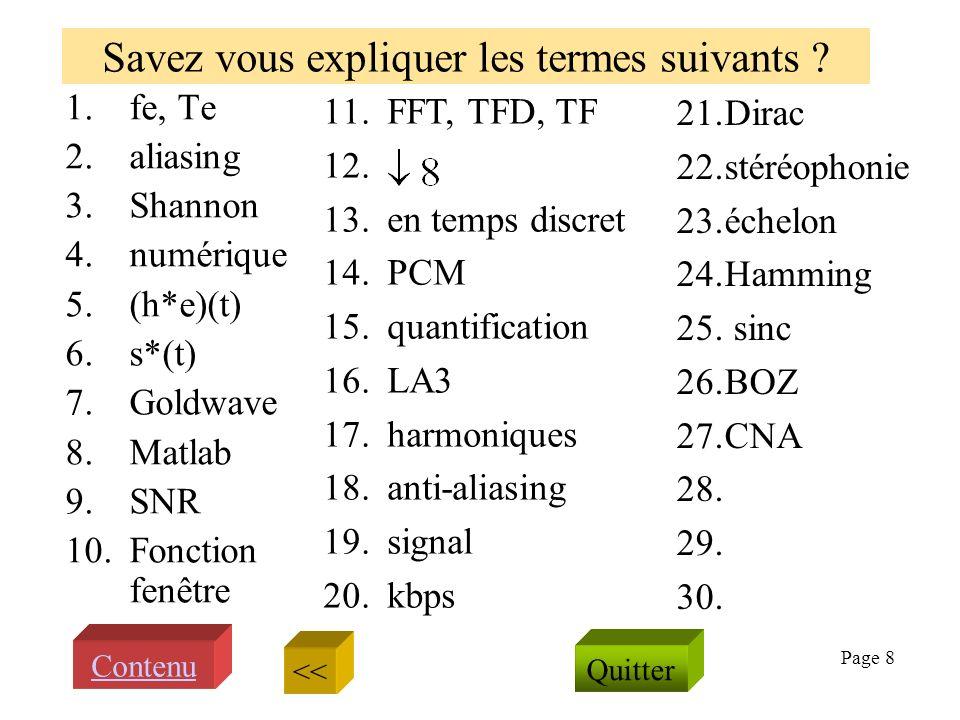Page 7 Echantillonner, sous échantillonner Signal échantillonné s* associé à et son spectre ? Dans quel cas le filtre de Shannon reste til inefficace