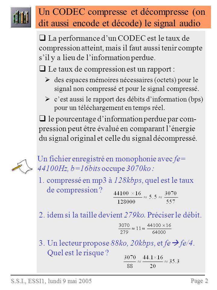 S.S.I., ESSI1, lundi 9 mai 2005 Page 2 Un CODEC compresse et décompresse (on dit aussi encode et décode) le signal audio La performance dun CODEC est le taux de compression atteint, mais il faut aussi tenir compte sil y a lieu de linformation perdue.