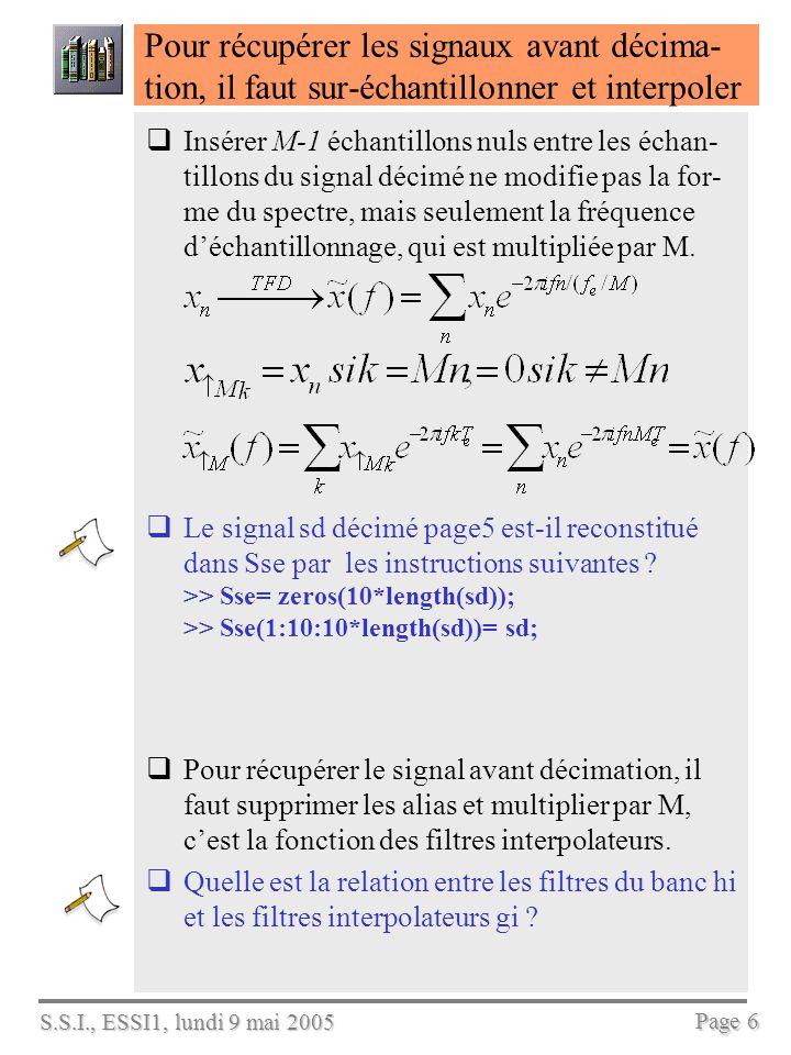 S.S.I., ESSI1, lundi 9 mai 2005 Page 6 Pour récupérer les signaux avant décima- tion, il faut sur-échantillonner et interpoler Insérer M-1 échantillons nuls entre les échan- tillons du signal décimé ne modifie pas la for- me du spectre, mais seulement la fréquence déchantillonnage, qui est multipliée par M.