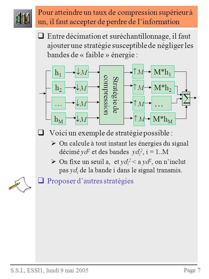S.S.I., ESSI1, lundi 9 mai 2005 Page 7 Pour atteindre un taux de compression supérieur à un, il faut accepter de perdre de linformation Entre décimation et suréchantillonnage, il faut ajouter une stratégie susceptible de négliger les bandes de « faible » énergie : Voici un exemple de stratégie possible : On calcule à tout instant les énergies du signal décimé yd 2 et des bandes yd i 2, i = 1..M On fixe un seuil a, et yd i 2 < a yd 2, on ninclut pas yd i de la bande i dans le signal transmis.