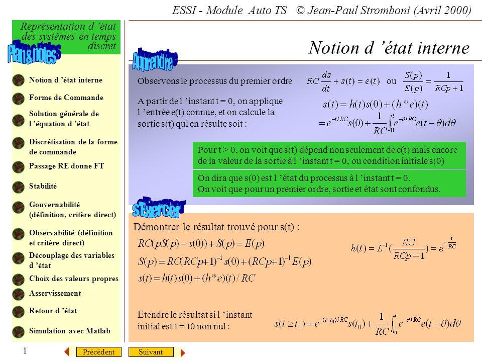 SuivantPrécédent ESSI - Module Auto TS © Jean-Paul Stromboni (Avril 2000) Représentation d état des systèmes en temps discret 1 Notion d état interne