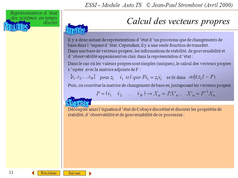 SuivantPrécédent ESSI - Module Auto TS © Jean-Paul Stromboni (Avril 2000) Représentation d état des systèmes en temps discret 11 Il y a donc autant de