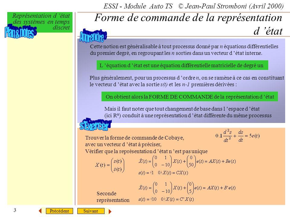 SuivantPrécédent ESSI - Module Auto TS © Jean-Paul Stromboni (Avril 2000) Représentation d état des systèmes en temps discret 3 Forme de commande de l