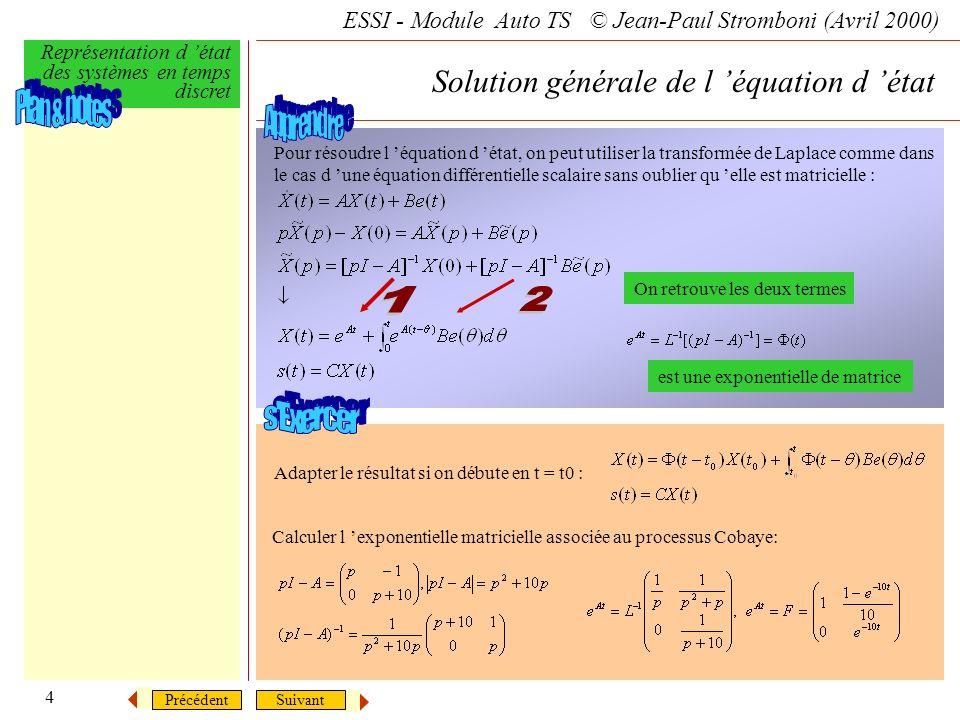 SuivantPrécédent ESSI - Module Auto TS © Jean-Paul Stromboni (Avril 2000) Représentation d état des systèmes en temps discret 4 Solution générale de l