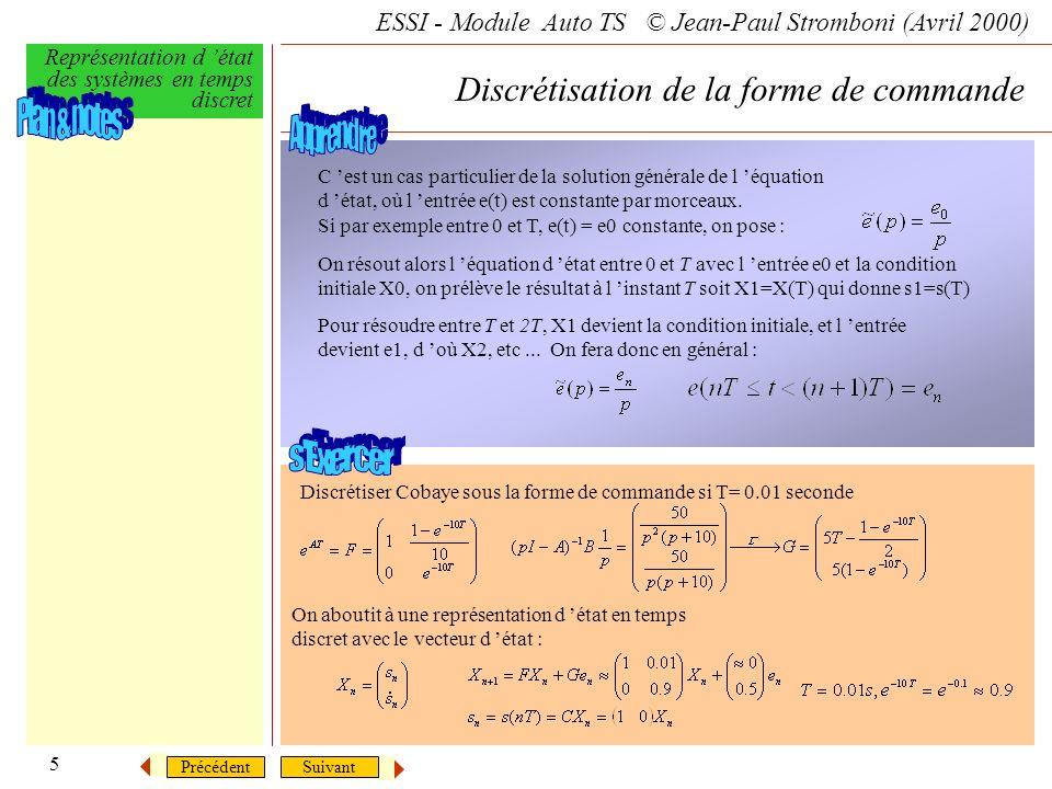 SuivantPrécédent ESSI - Module Auto TS © Jean-Paul Stromboni (Avril 2000) Représentation d état des systèmes en temps discret 5 Discrétisation de la f
