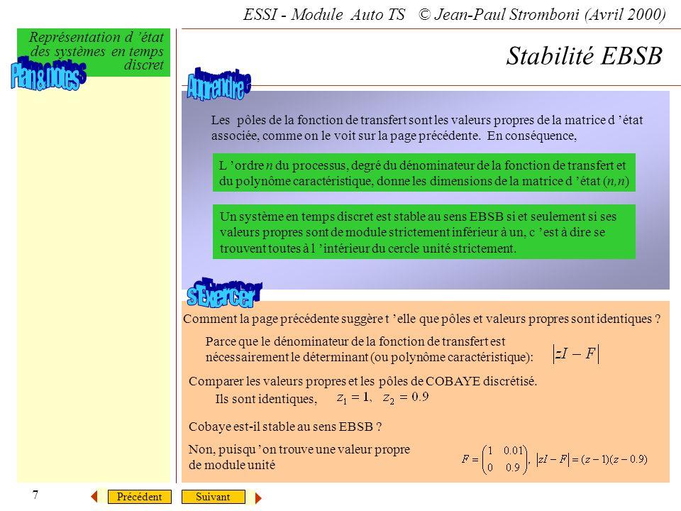 SuivantPrécédent ESSI - Module Auto TS © Jean-Paul Stromboni (Avril 2000) Représentation d état des systèmes en temps discret 7 Stabilité EBSB Les pôl
