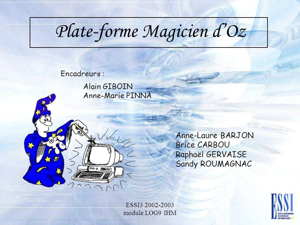 Plate-forme Magicien dOz Anne-Laure BARJON Brice CARBOU Raphaël GERVAISE Sandy ROUMAGNAC ESSI3 2002-2003 module LOG9 IHM Alain GIBOIN Anne-Marie PINNA Encadreurs :