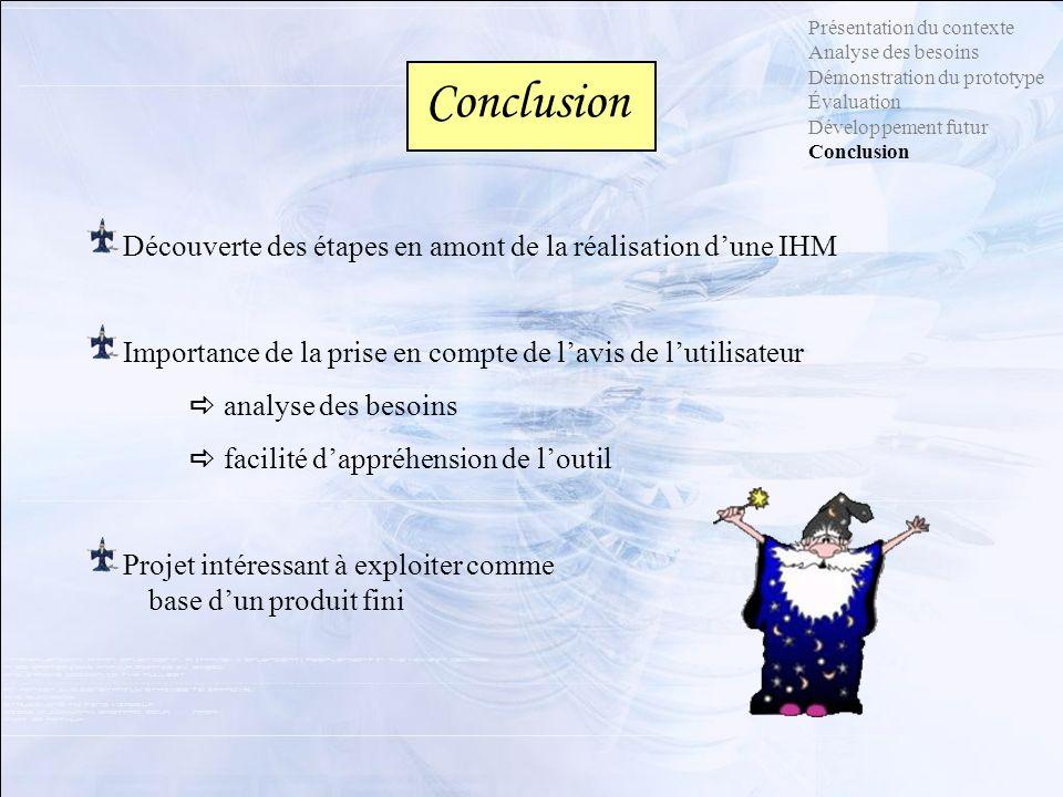 Présentation du contexte Analyse des besoins Démonstration du prototype Évaluation Développement futur Conclusion Conclusion Découverte des étapes en