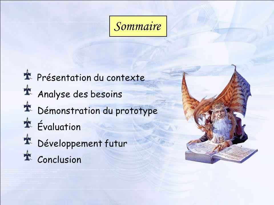 Présentation du contexte Analyse des besoins Démonstration du prototype Évaluation Développement futur Conclusion Sommaire