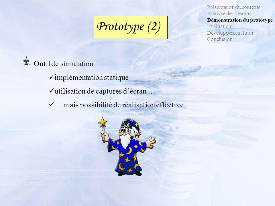 Prototype (2) Présentation du contexte Analyse des besoins Démonstration du prototype Évaluation Développement futur Conclusion Outil de simulation im