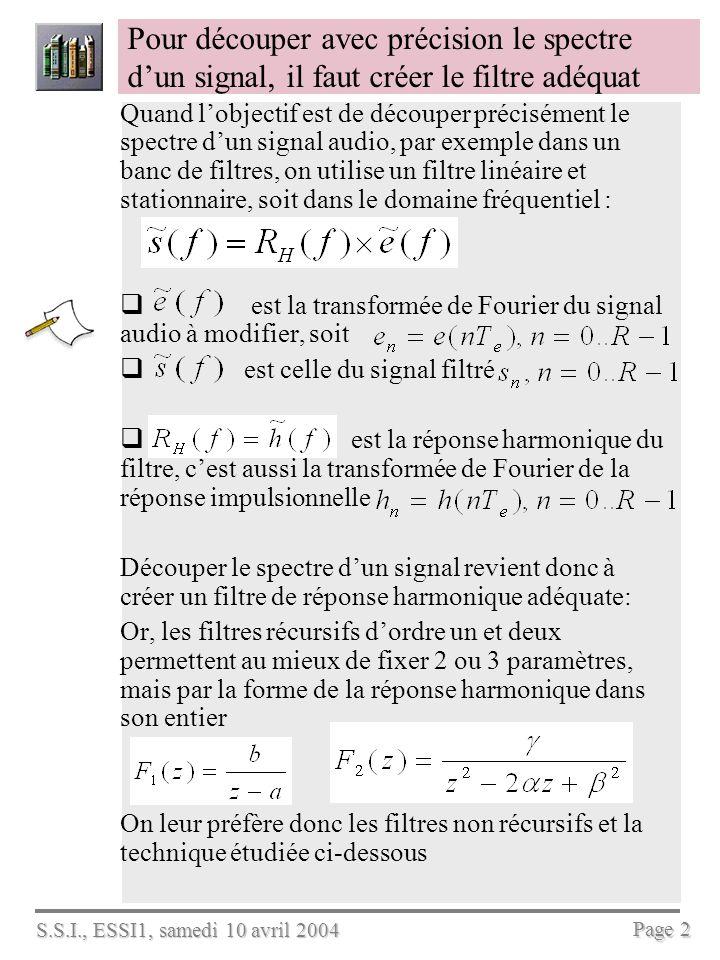 S.S.I., ESSI1, samedi 10 avril 2004 Page 2 Pour découper avec précision le spectre dun signal, il faut créer le filtre adéquat Quand lobjectif est de