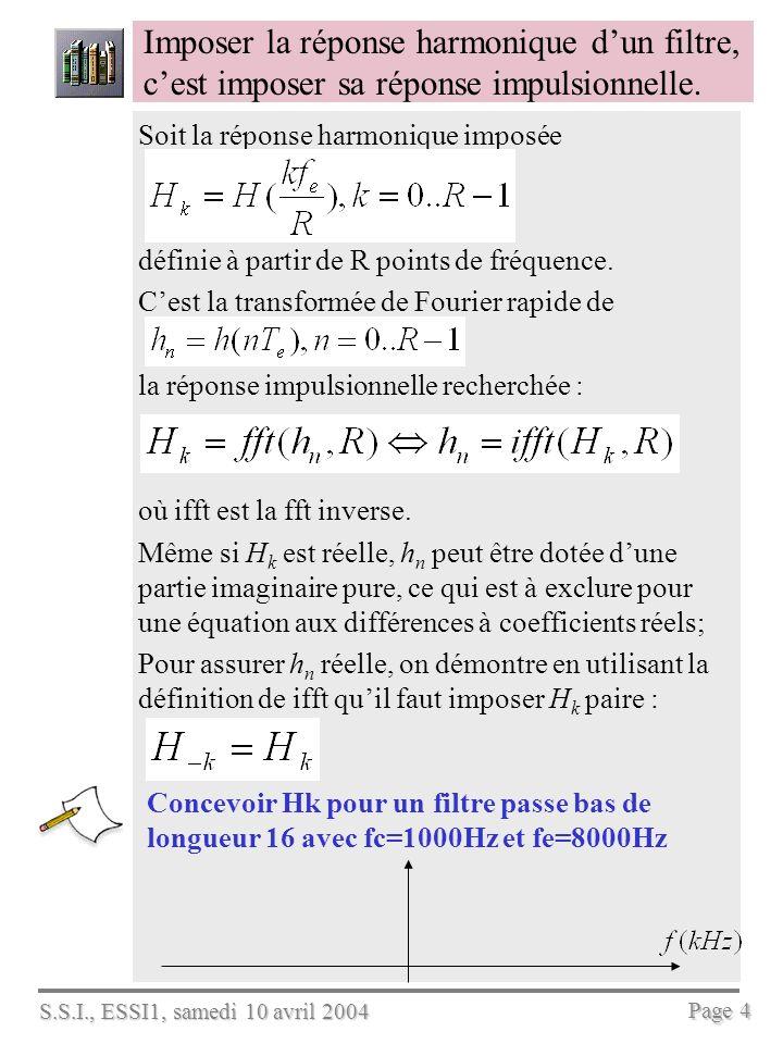 S.S.I., ESSI1, samedi 10 avril 2004 Page 5 Matlab peut calculer les coefficients du filtre si on spécifie la réponse harmonique Décrire le filtre réalisé %définir et tracer RH R=32; fe=8000; fc=1000; N = fix(fc*R/fe); n=0:R-1; fr= n*fe/R-fe/2; H=[ones(1,N+1),...