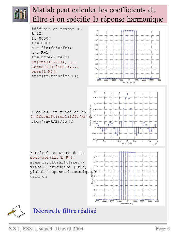 S.S.I., ESSI1, samedi 10 avril 2004 Page 5 Matlab peut calculer les coefficients du filtre si on spécifie la réponse harmonique Décrire le filtre réal
