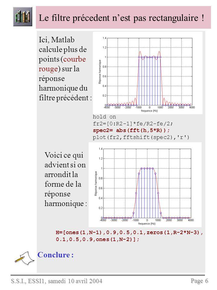 S.S.I., ESSI1, samedi 10 avril 2004 Page 6 Le filtre précedent nest pas rectangulaire ! Conclure : Ici, Matlab calcule plus de points (courbe rouge) s