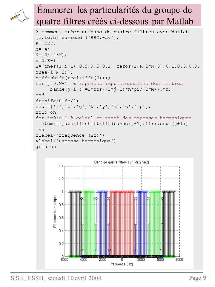S.S.I., ESSI1, samedi 10 avril 2004 Page 9 Énumerer les particularités du groupe de quatre filtres créés ci-dessous par Matlab % comment créer un banc