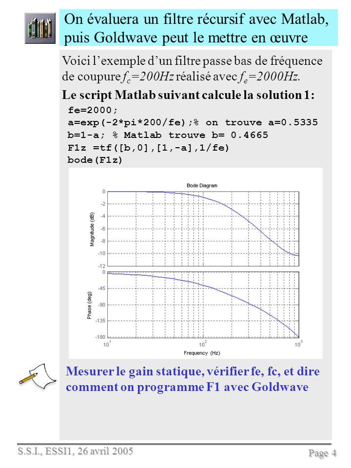 S.S.I., ESSI1, 26 avril 2005 Page 4 On évaluera un filtre récursif avec Matlab, puis Goldwave peut le mettre en œuvre Voici lexemple dun filtre passe