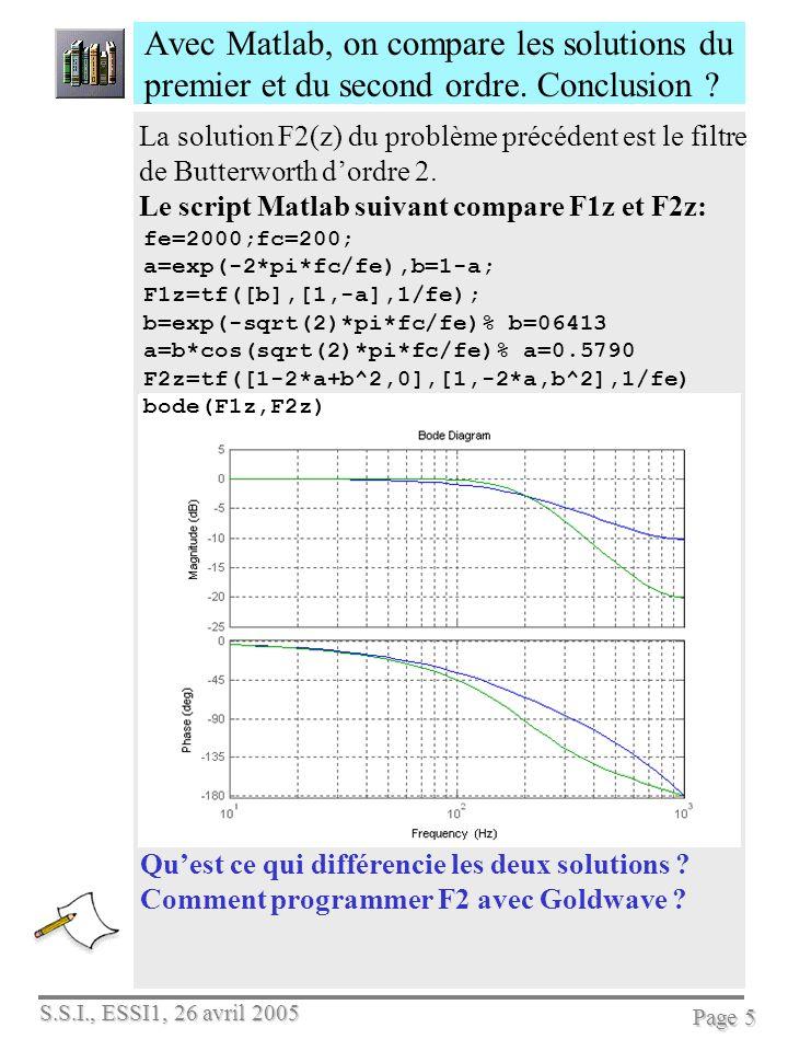 S.S.I., ESSI1, 26 avril 2005 Page 5 Avec Matlab, on compare les solutions du premier et du second ordre. Conclusion ? La solution F2(z) du problème pr